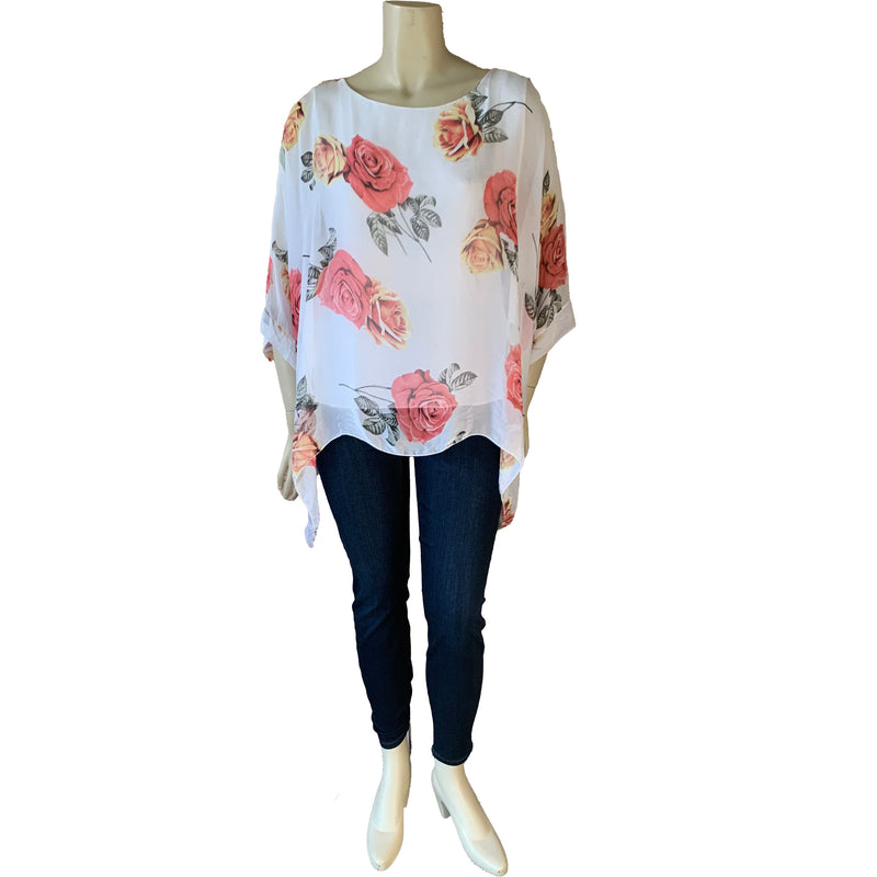 White silk plus size top with rose pattern