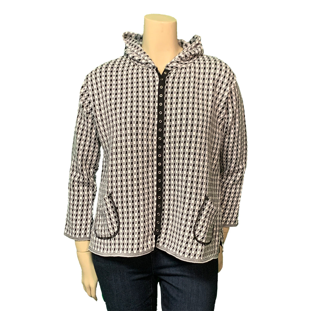 Black and white checked plus size designer hoodie
