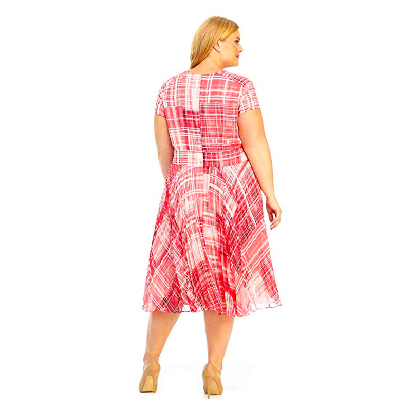 Pink plaid plus size designer dress