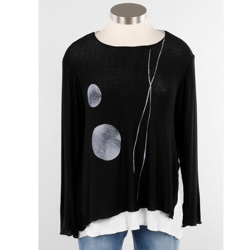 abstract art plus size knit top