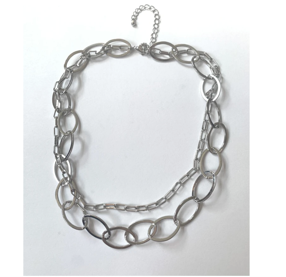 silver choker necklace with two chains
