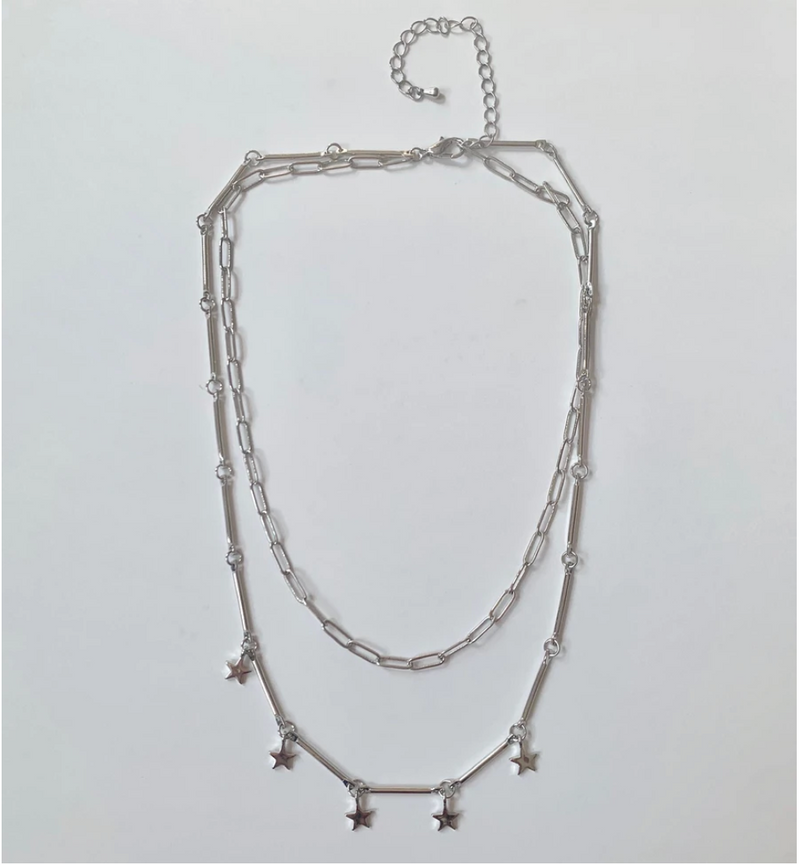 silver chain necklace with star charms