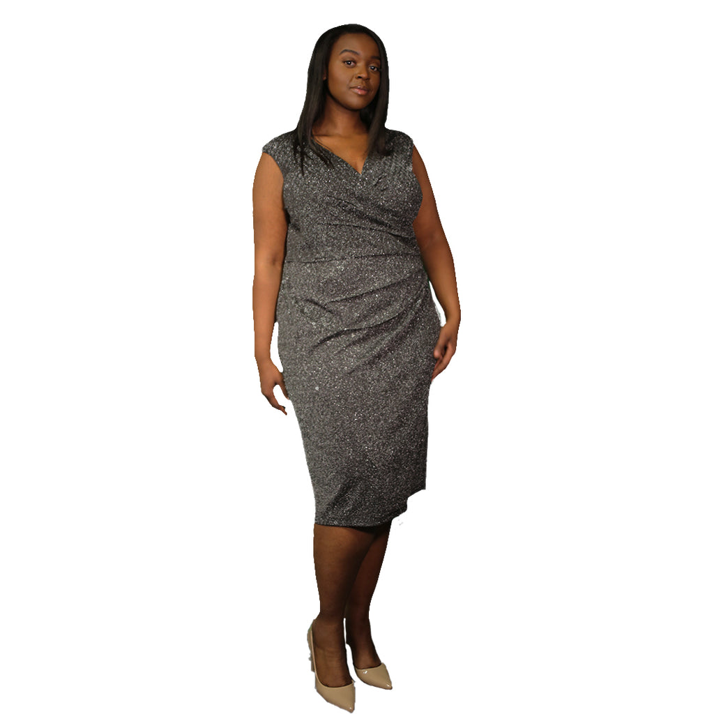 Black and silver sleeveless v-neck plus size dress
