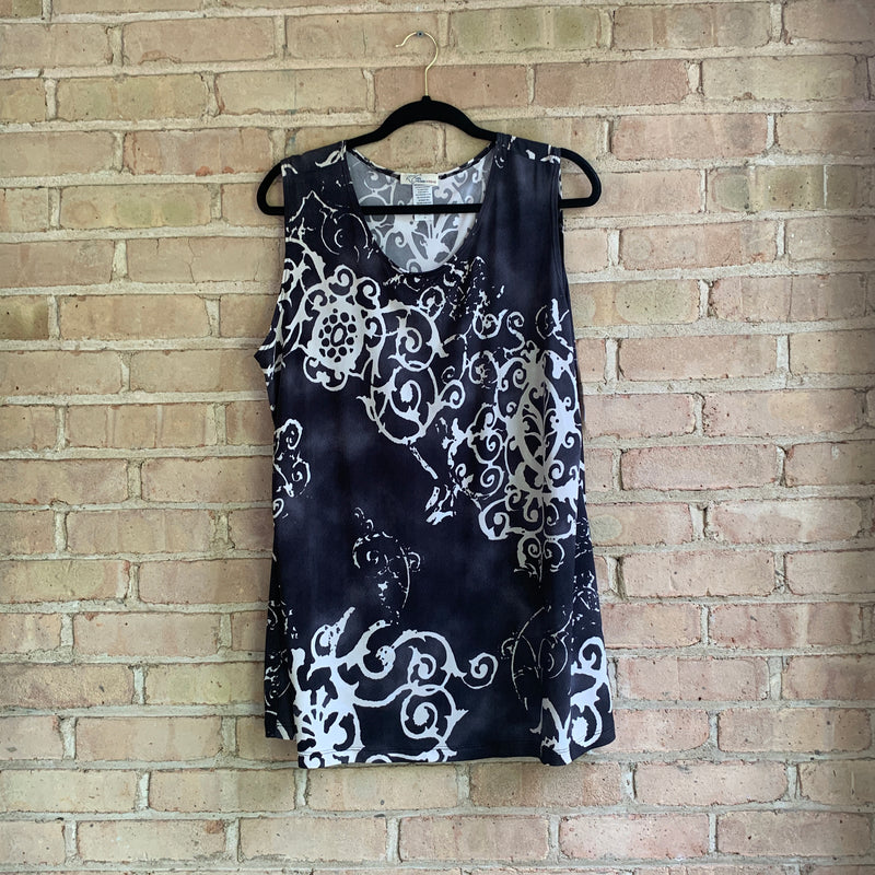 Grey and cream scrollwork pattern plus size sleeveless top
