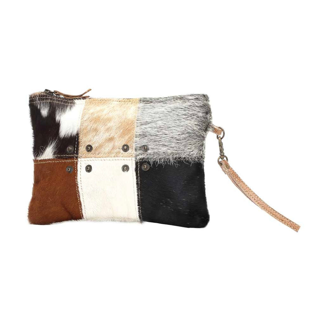 Small Leather Wristlet with 6 panels of different hair-on leather