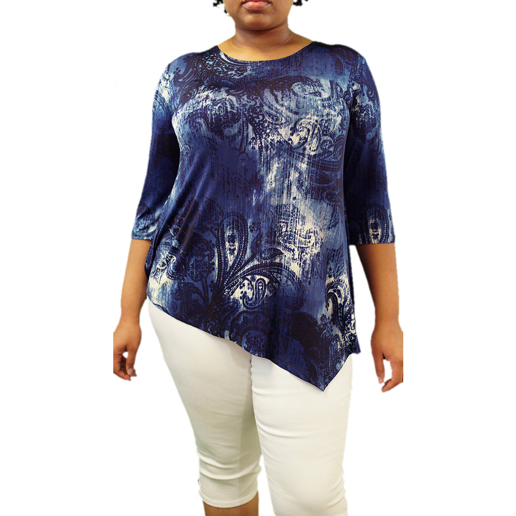 Plus Size blue and white asymmetric hem top
