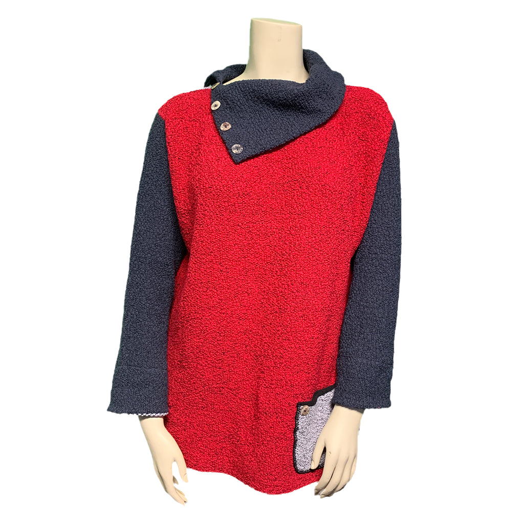 Reversible plus size cowl sweater in panels of red, light grey, and dark grey, with pockets