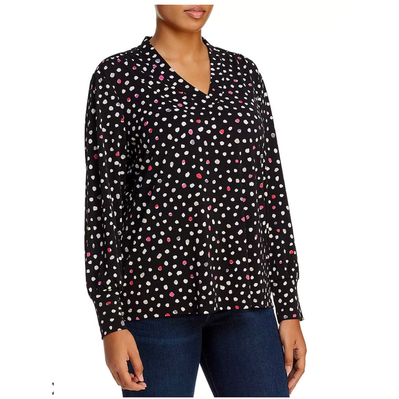 NIC+ZOE Plus Size black blouse with pink and white polka dots