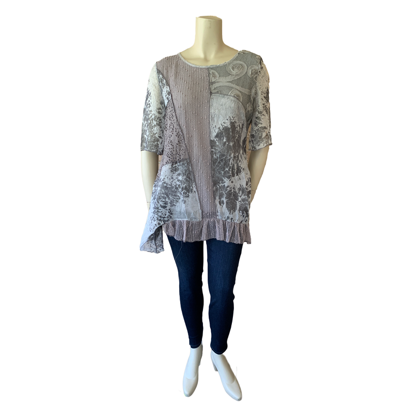 Taupe and grey Designer Plus Top