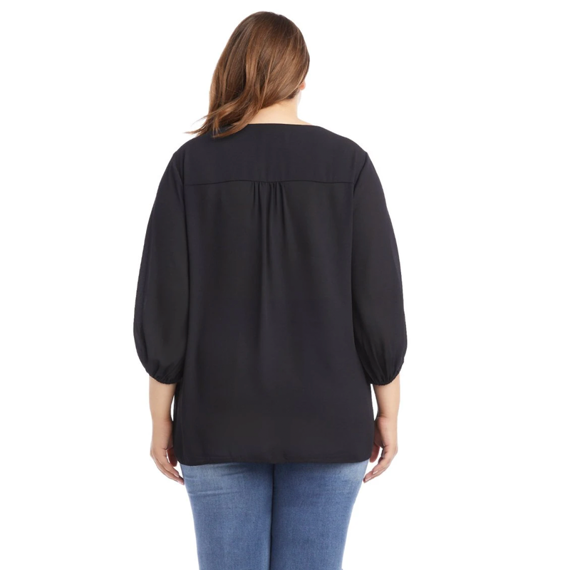 Riviera Silky Crepe Crossover Top by Karen Kane