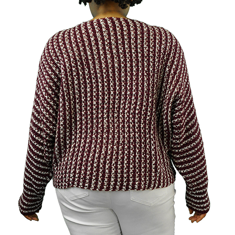 purple and white striped plus size sweater