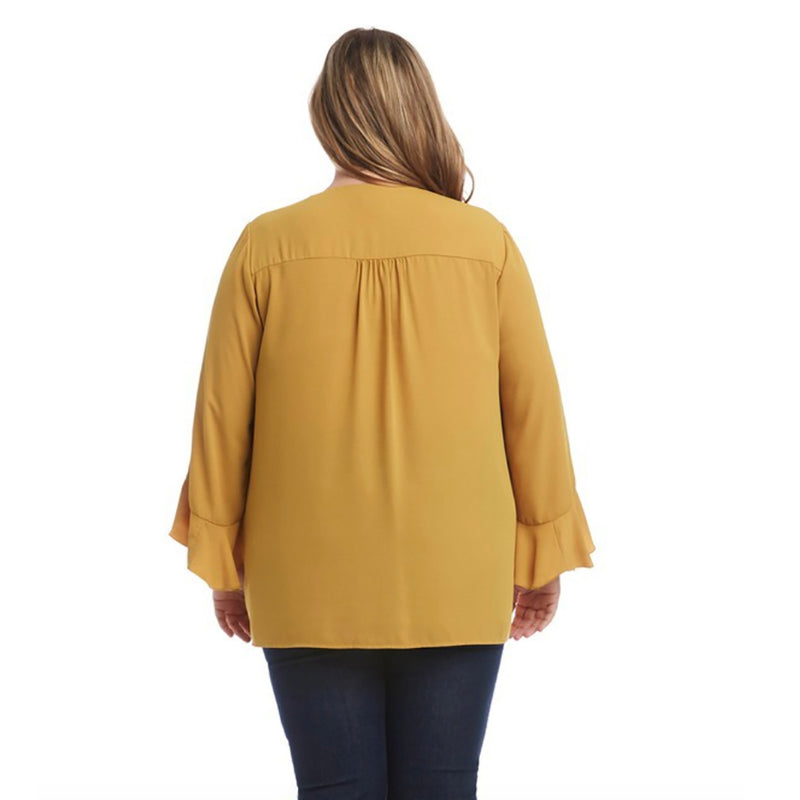 Karen Kane Ruffle Sleeve Crossover Top