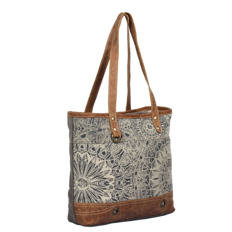 Blue and white canvas tote bag with leather detailing
