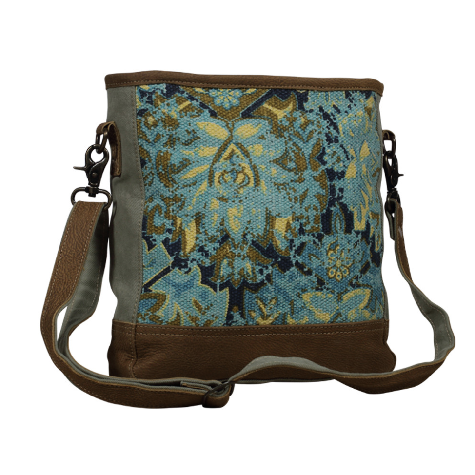 Turquoise fabric and leather bag