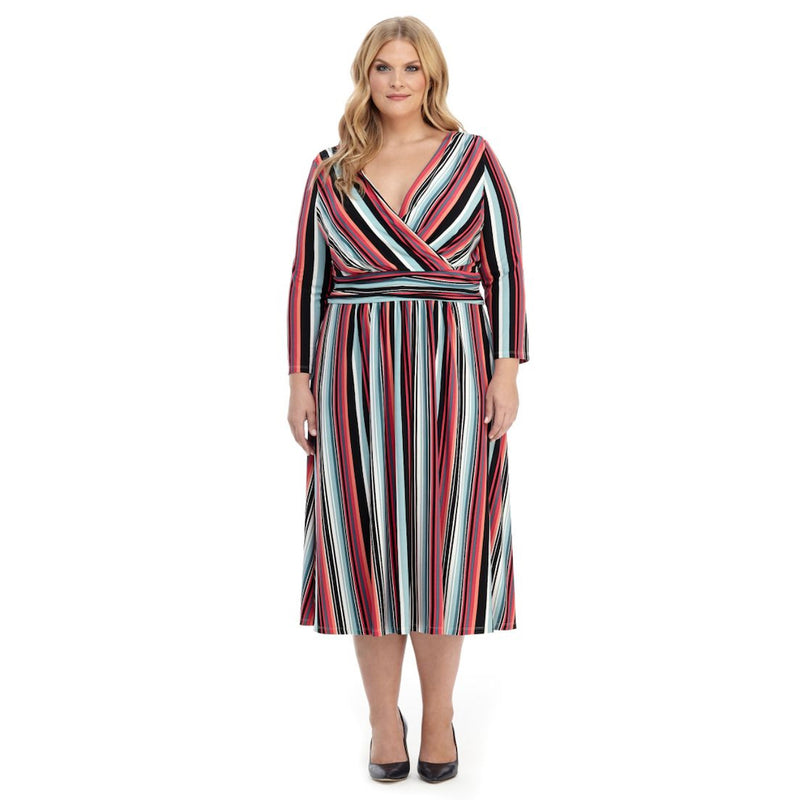 Colorful striped fit and flare faux-wrap dress