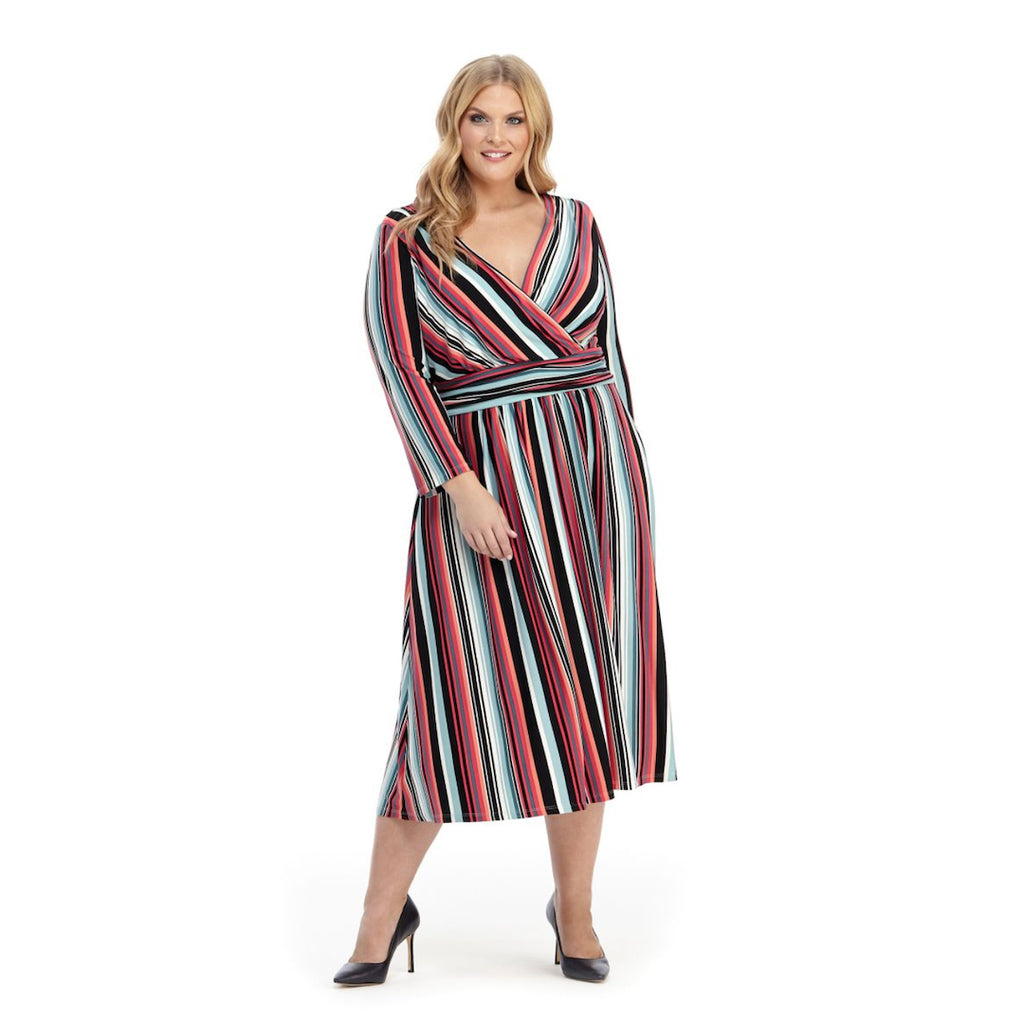 Colorful striped fit and flare faux-wrap plus size dress