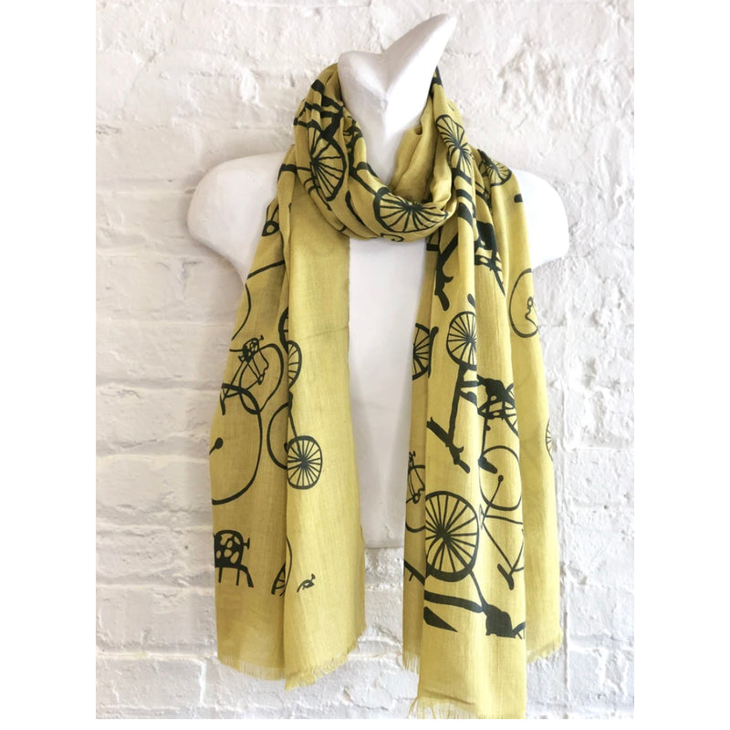 Chartreuse and Navy Bicycle Scarf - 100% Cotton