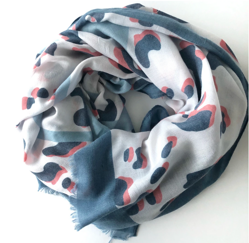 animal print scarf with blue border
