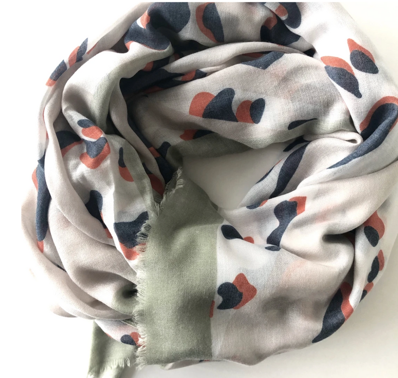 Animal print cashmere blend scarf with mint border