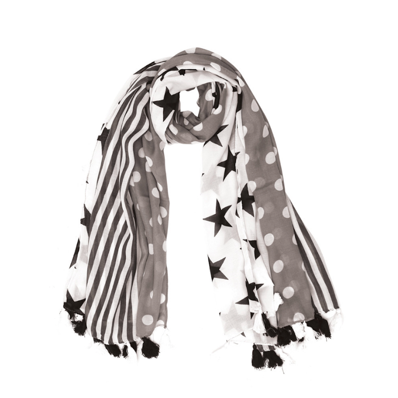 Dots with Stars Fashion Scarf