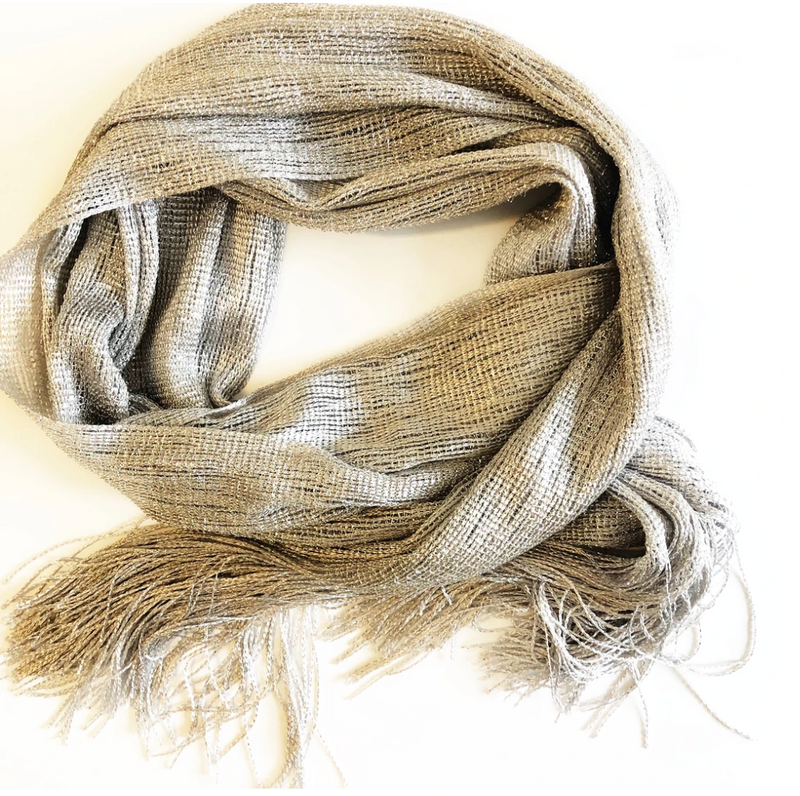 Metallic fashion scarf with fringe