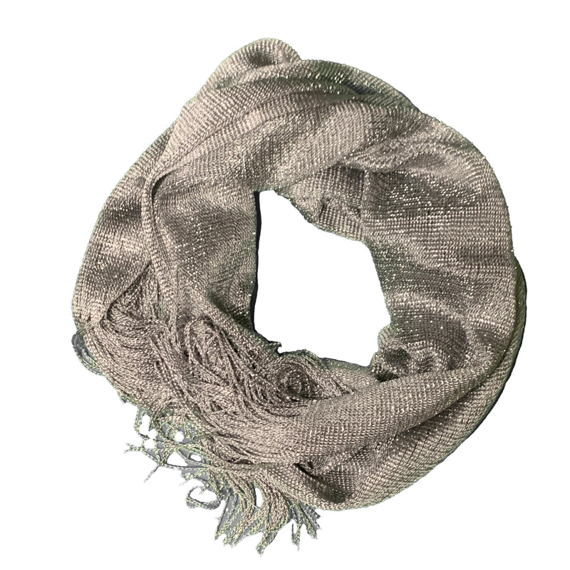Grey Scarf with White Stars - 100% Cotton
