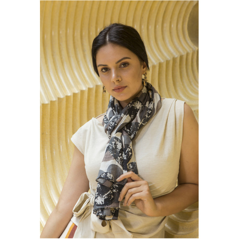 White, black, grey, and taupe fashion scarf