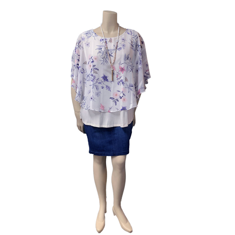 White floral layered Plus Size Designer Tops