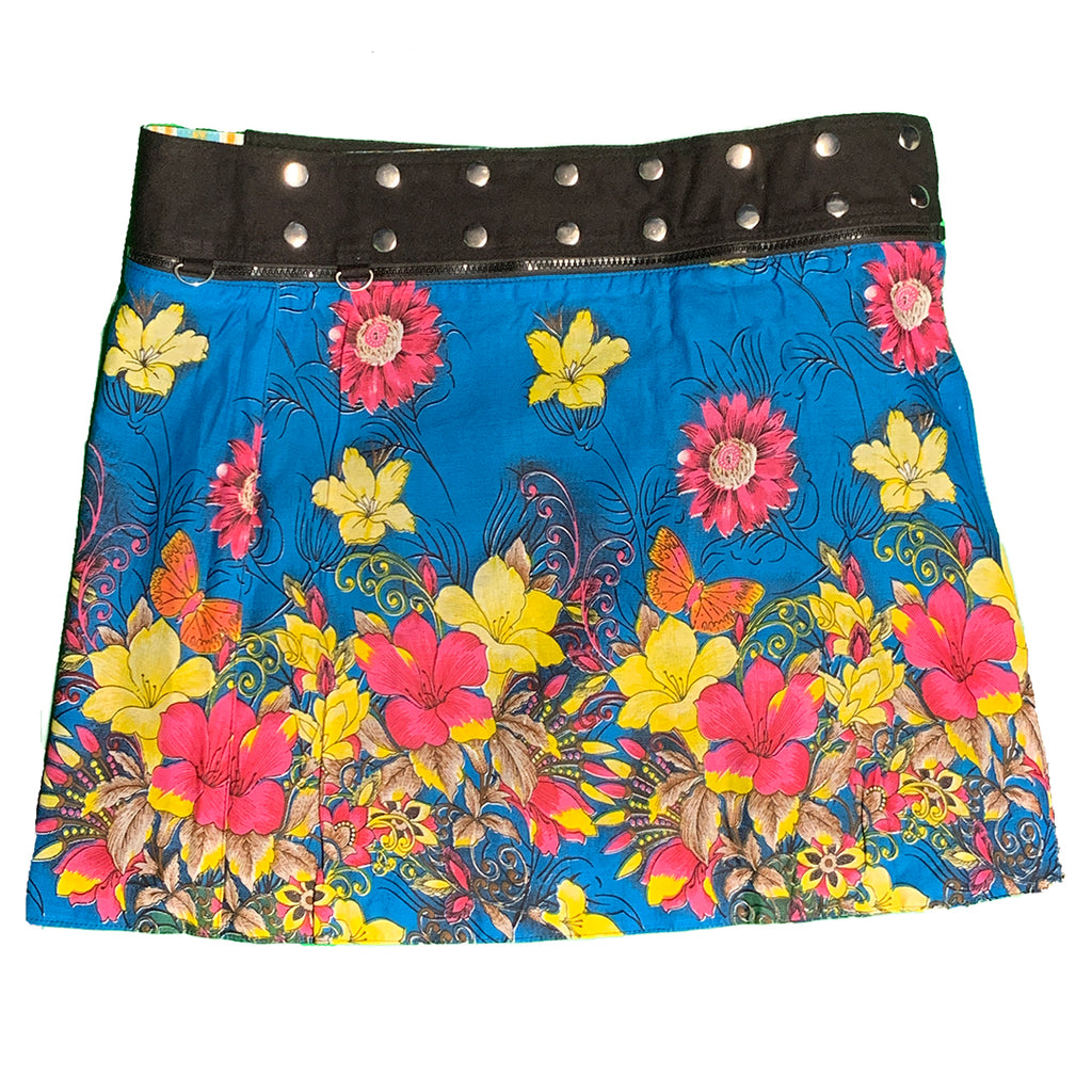 Plus size wrap skirt - blue with yellow and pink flowers