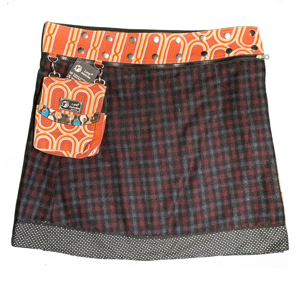 Plaid wrap skirt with attached purse