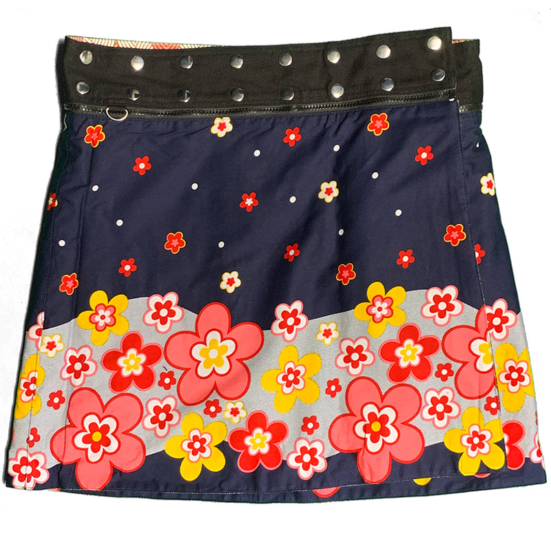 Navy wrap skirt with pink and yellow floral pattern.