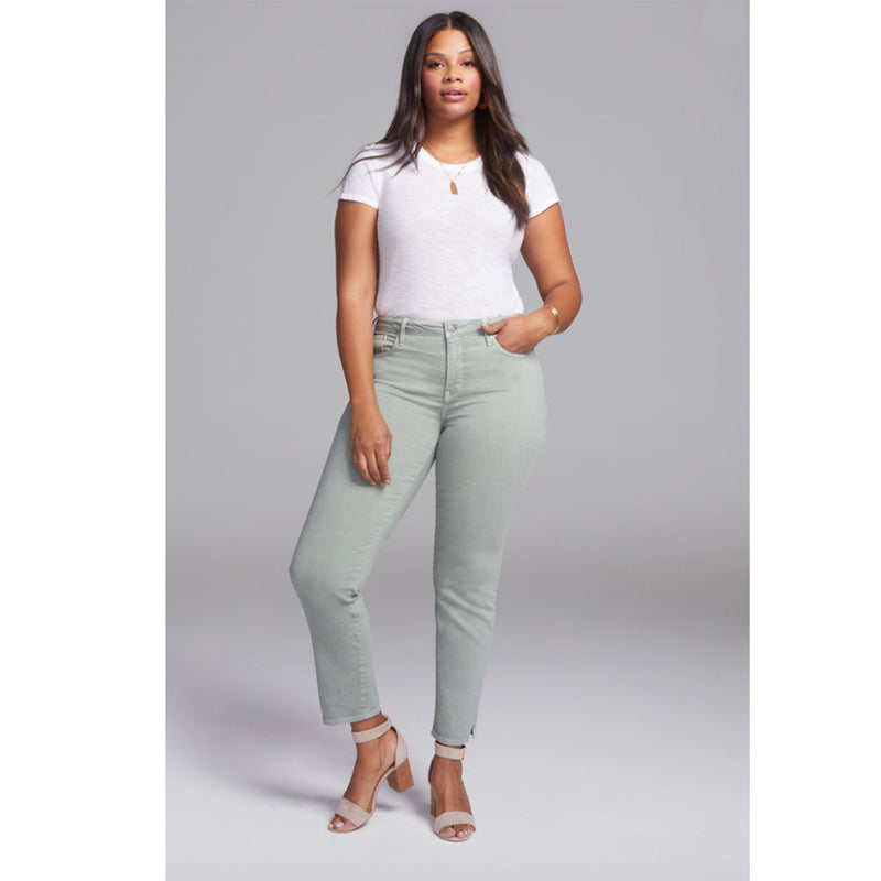 NYDJ's Slim Straight Ankle Plus Size Jeans in Sea Foam Green