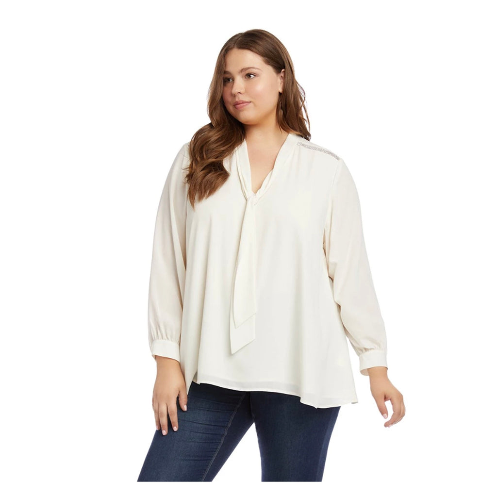 Plus size cream colored blouse with sparkly strips on the shoulders and a tie neck