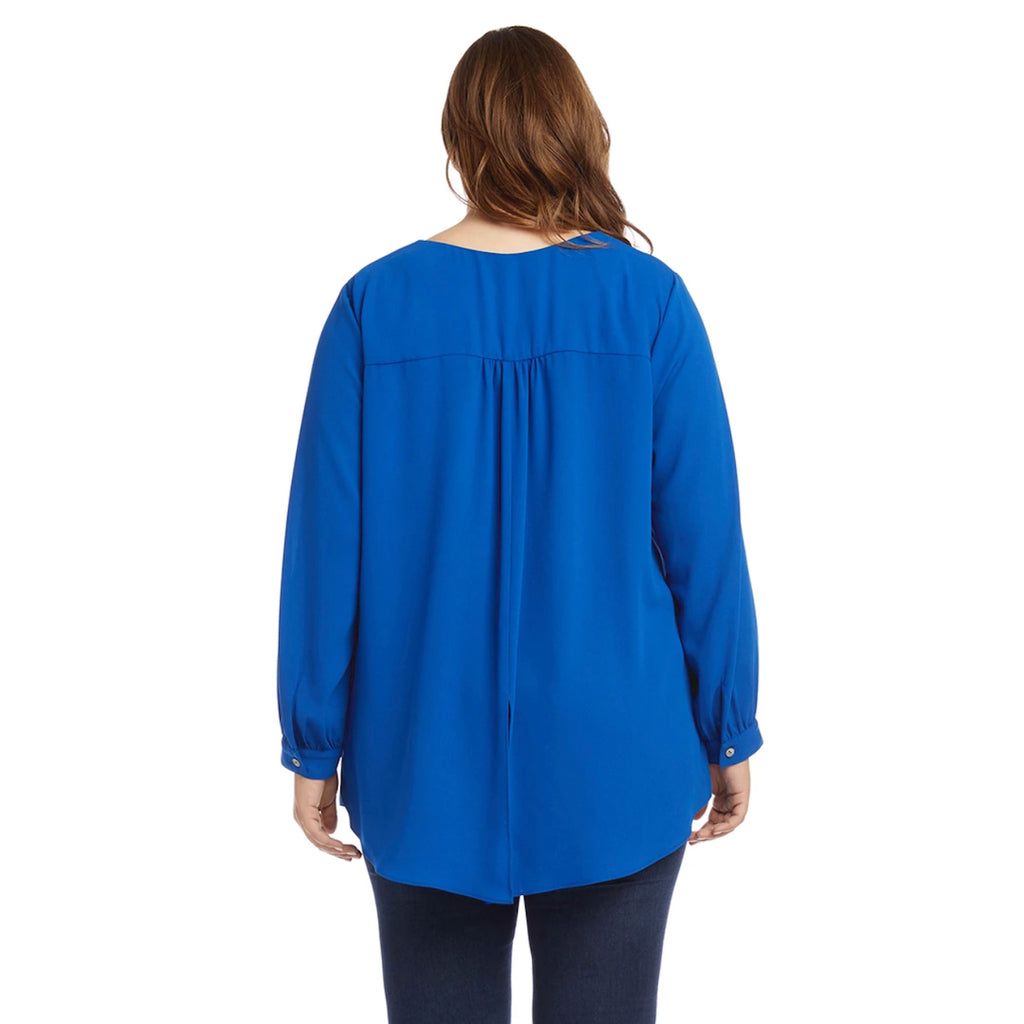 blue v-neck long sleeved crossover top