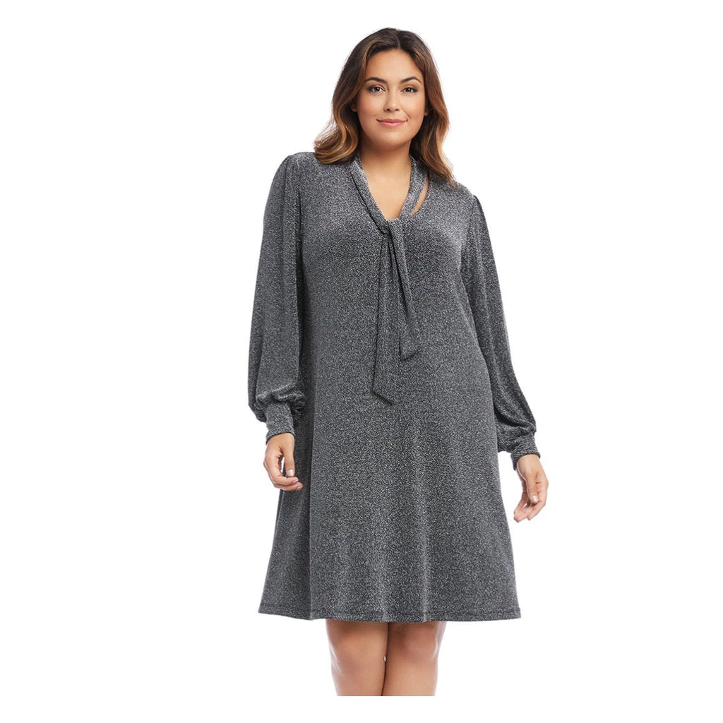 Silver v-neck dress with blouson sleeves