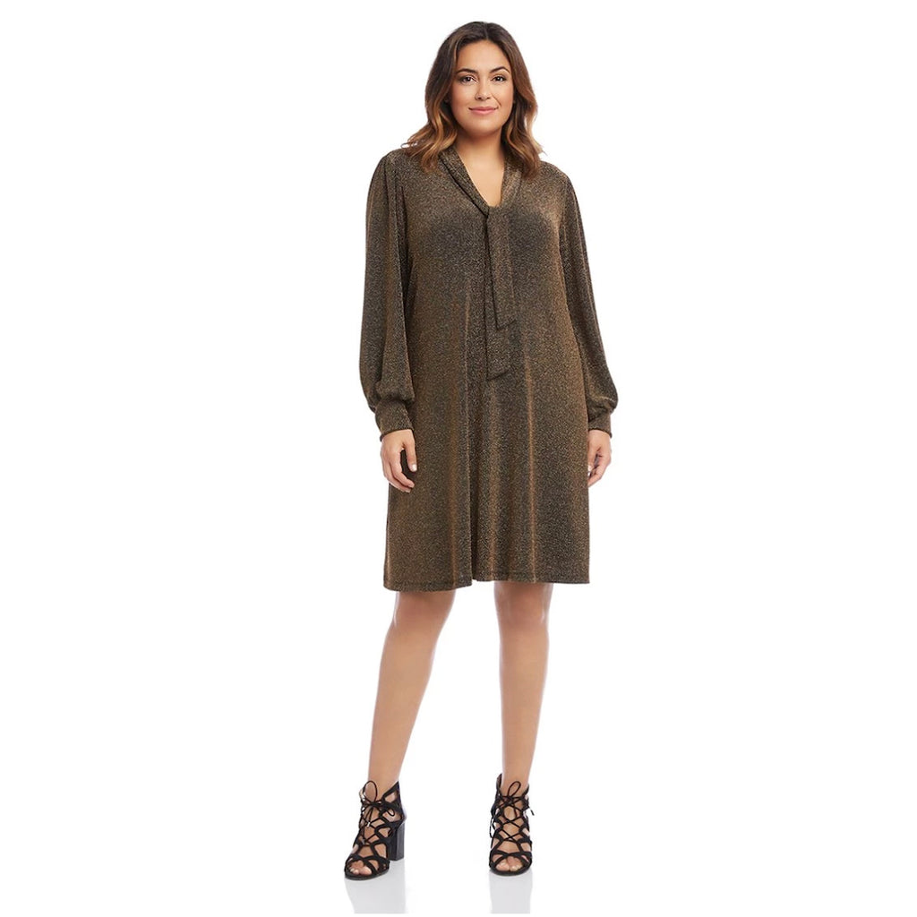 Gold v-neck dress with blouson sleeves