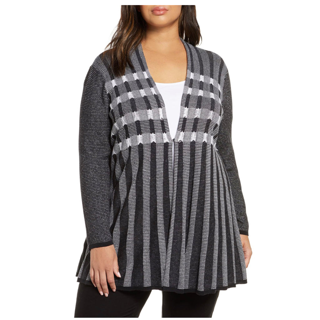 Black and white striped plus size cardigan by NIC+ZOE