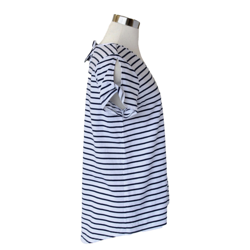 White and navy striped plus size tee with sleeve, neckline, and back detail