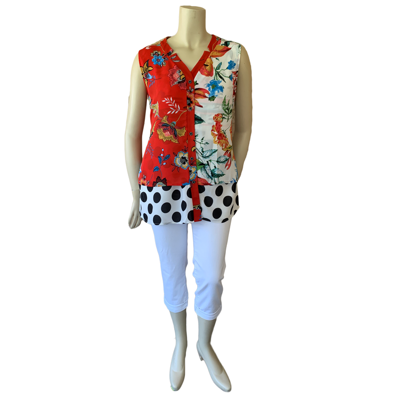 Colorful mixed print sleeveless designer plus blouse