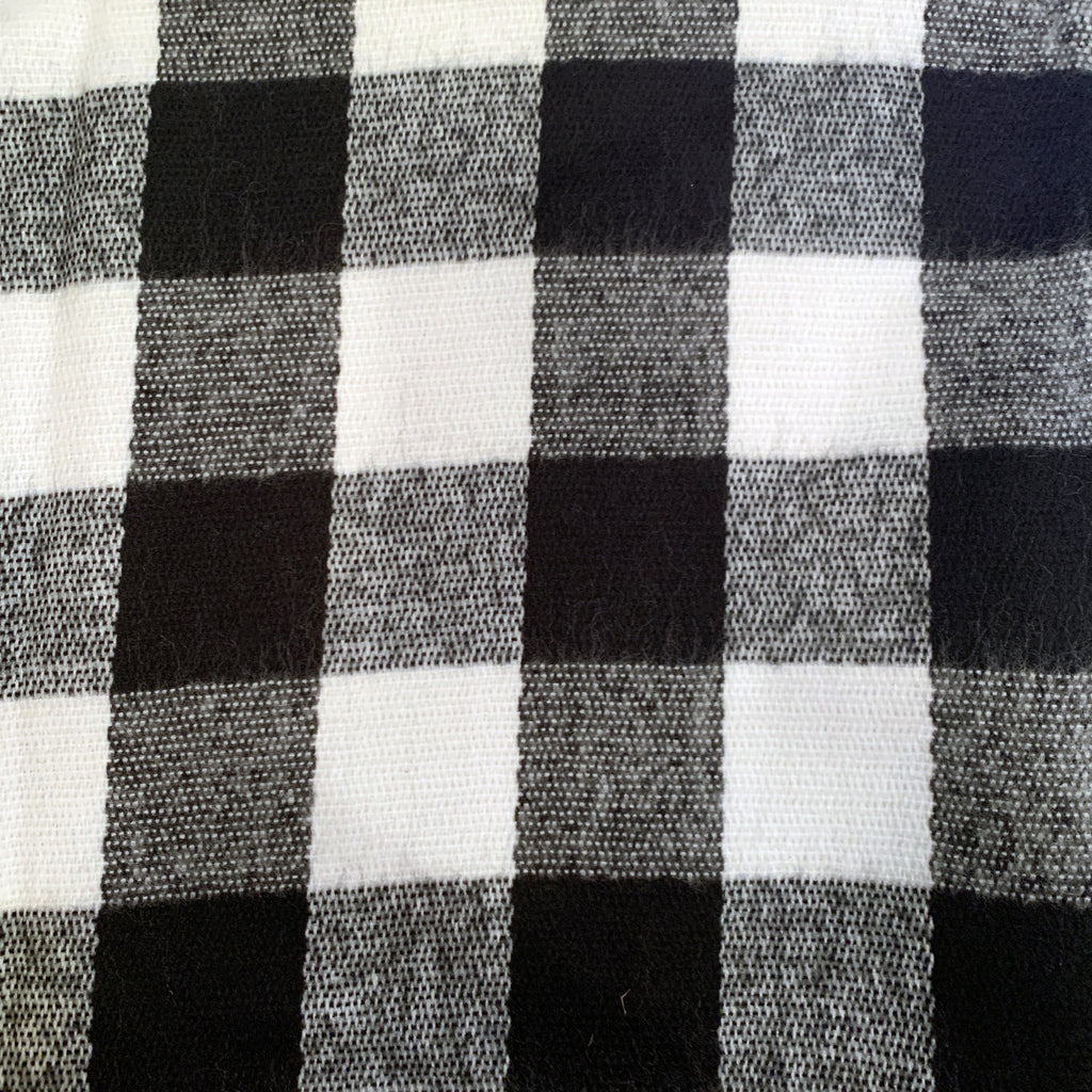 White and Black Buffalo Plaid Shawl Scarf