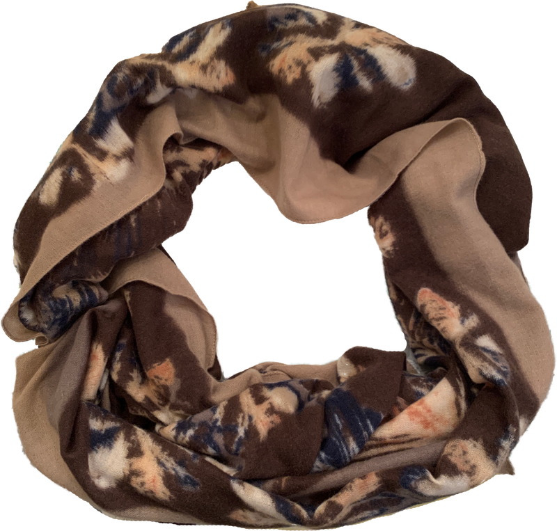 Animal Print Scarf with Blue Border - Cashmere Blend