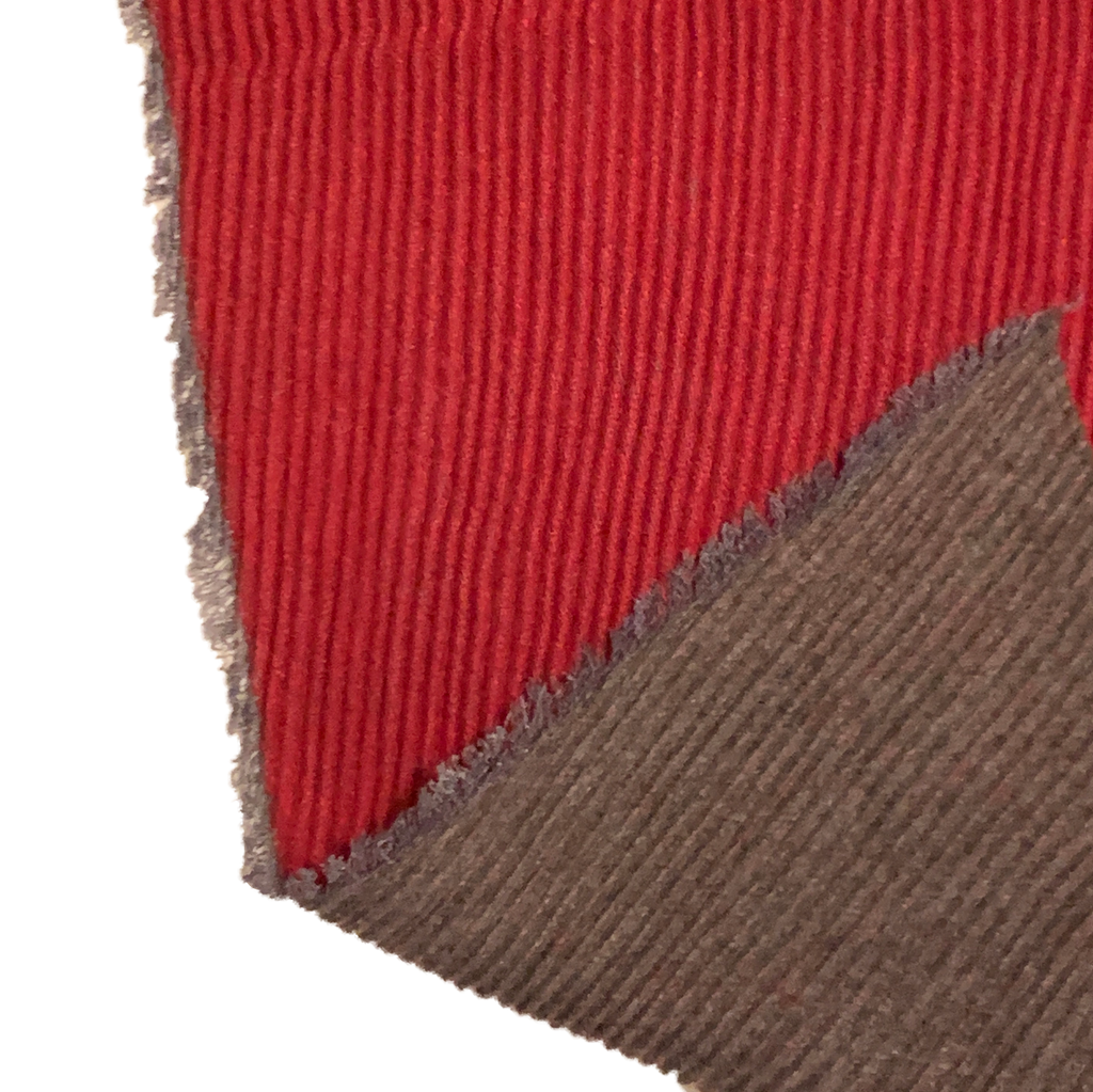 Red and Grey Pleated Reversible Scarf