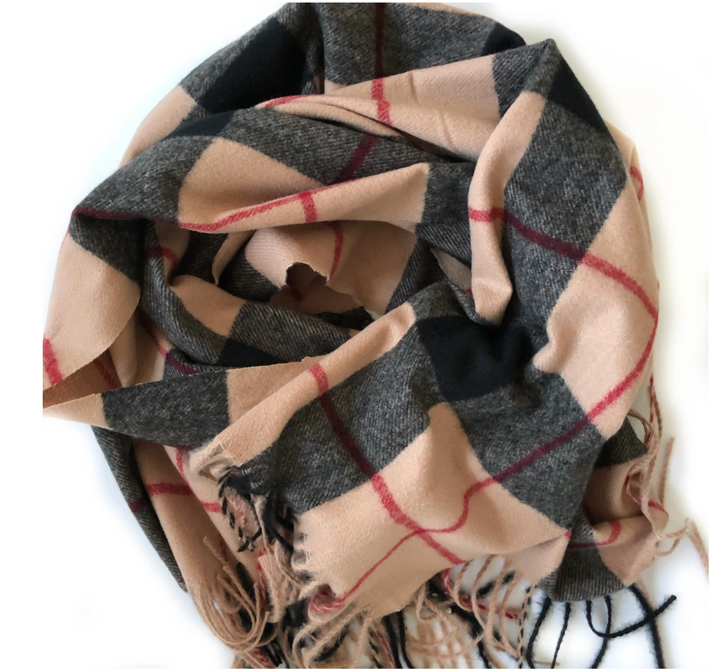 Beige, Red and Black Plaid Cashmere Feel Large Scarf