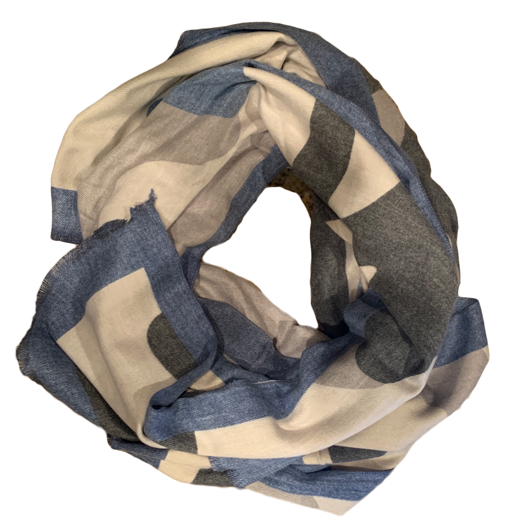 Blue and Grey Reversible Winter Scarf