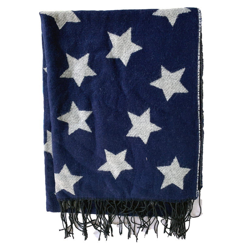 Blue and Grey Stars Large Scarf - Reversible