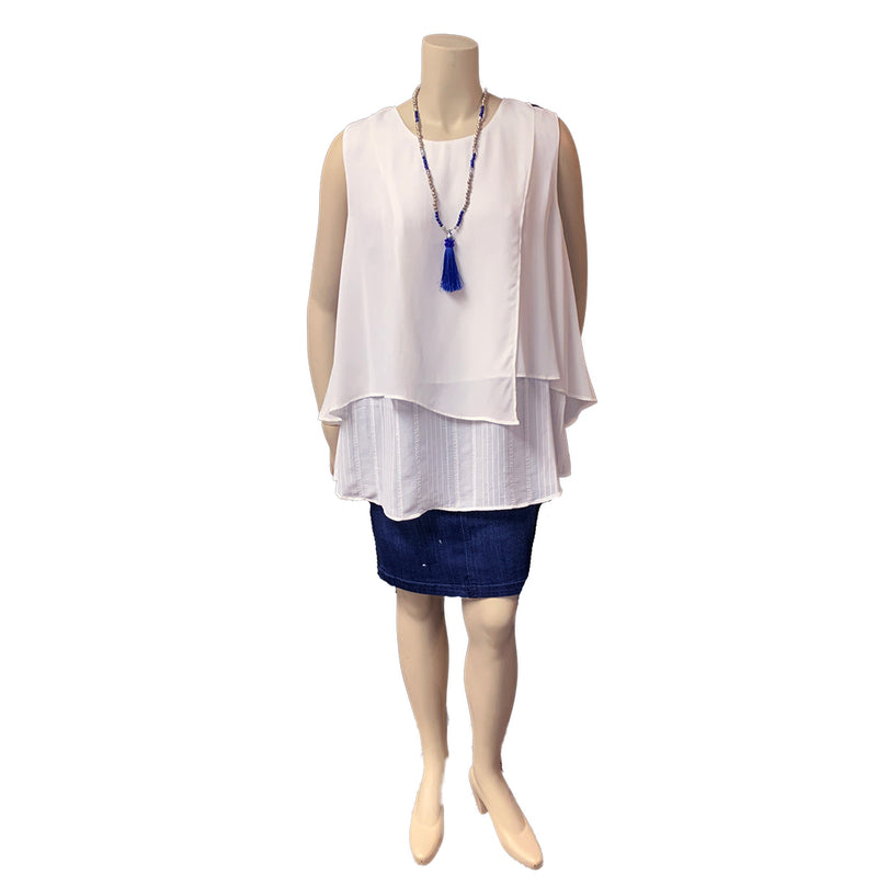 Layered white plus size tank top with denim pencil skirt
