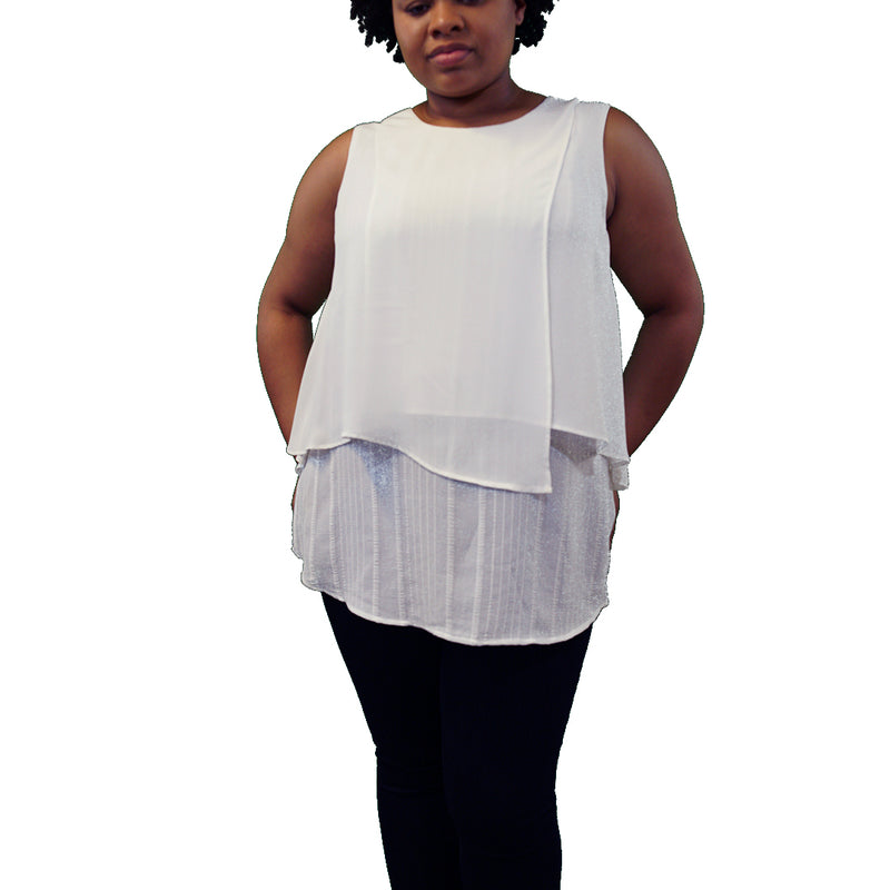 Layered white plus size tank top