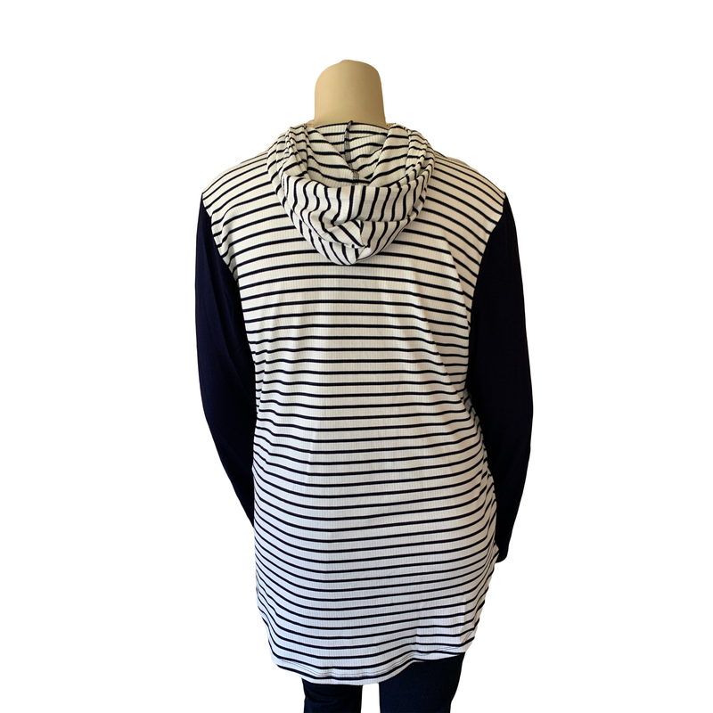 Navy and white striped hoodie with navy sleeves