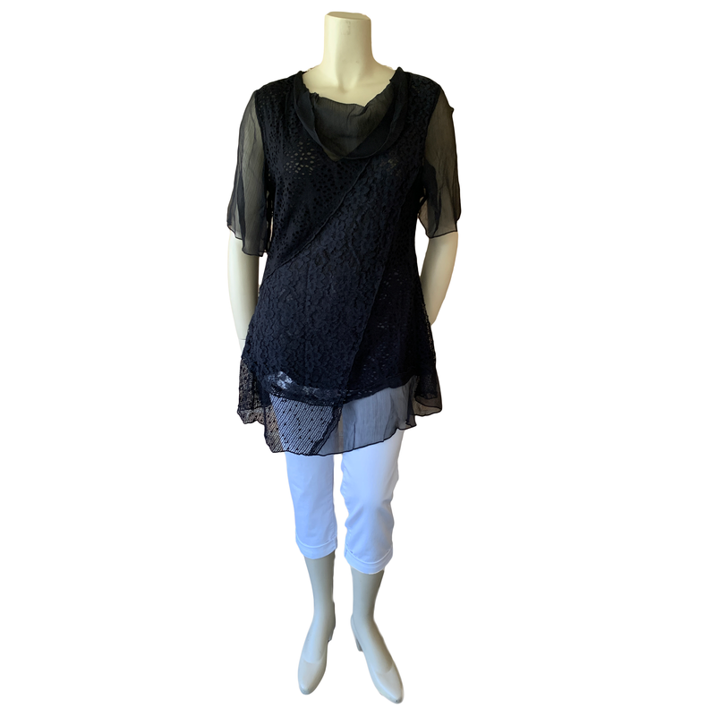 Black lacy tunic with sheer sleeves and neckline