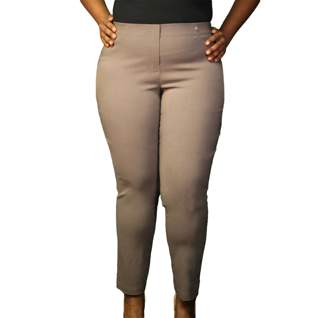 Khaki plus size work pants